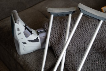 Crutches and a broken leg